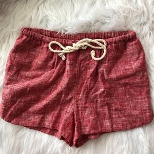 red paperbag shorts with belt tie